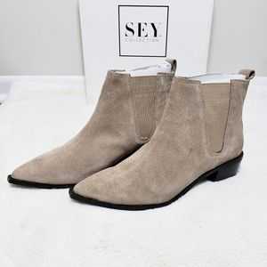 Anthro SEYCHELLES Force Suede Taupe Chelsea Boots